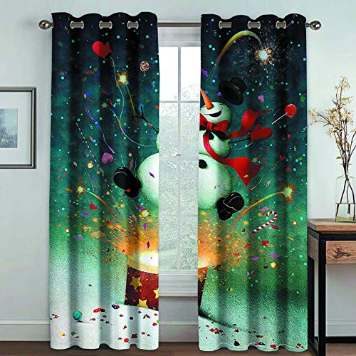 MMHJS Nordic 3D Digital Printing Curtains Christmas Series Thick Polyester Waterproof Curtains Bedroom Balcony Living Room Blackout Vertical Curtains (2 Pieces)