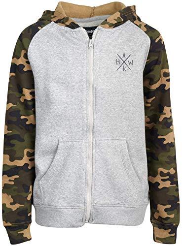 TONY HAWK Boys' Full Zip Hooded Sweatshirt with Split Pockets and Logo Crest, Camo/Grey, Size 10/12
