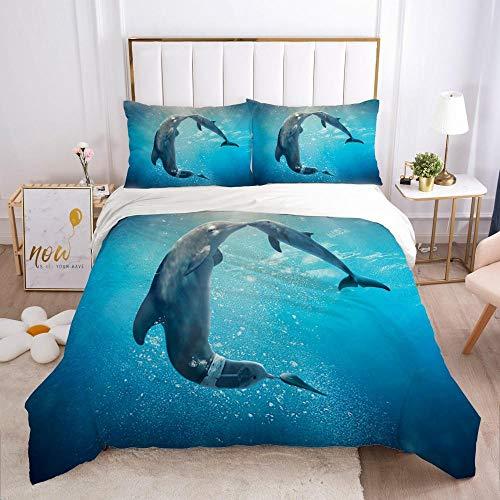 QDoodePoyer Bettwäsche-Sets 3 teilig Mikrofaser Blau Ozean Tiere Delphin Bettbezug Set 260x240cm Bettbezug mit Reißverschluss und 2 Kopfkissenbezug 80x80cm Weiche Bettwäscheset
