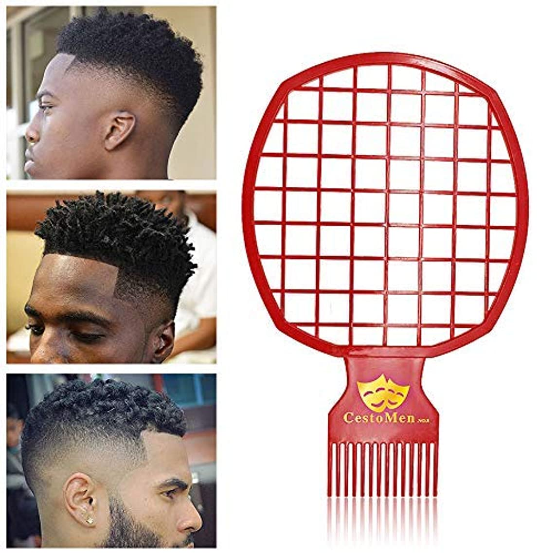 同化サークル強調するAfro & Twist Comb for Natural Hair & Dreads, Curl Hair and Weave Dreadlocks, Afro Hair Coil Pick Combs for Men, Barber and Personal Use, Super Easy to Clean (Red) [並行輸入品]