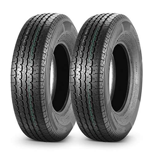 MaxAuto ST 225/75R15 Trailer Tires 10 Ply Load Range E Heavy Duty w/Featured Side Scuff Guard, Set of 2