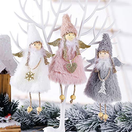 Globalstore Christmas Decorations, 3 Pieces Christmas Tree Pendants, Plush Angel Doll Christmas Ornaments Tree Toy Holiday Baubles for Christmas Tree, Fireplaces, Windows, Car, Bars Decoration