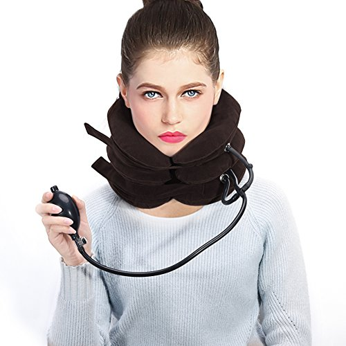 Halswirbel Nacken Traktion Aufblasbares Hals Zugvorrichtung, U-förmiges Nackenstütze gegen Kopf- und Schulterschmerzen (Kaffee)