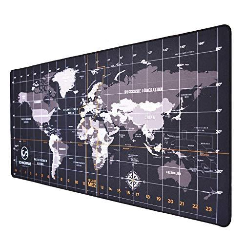 SCHNÜRRLIE Schreibtischunterlage Weltkarte deutsch Schreibunterlage 90x40 cm schwarz