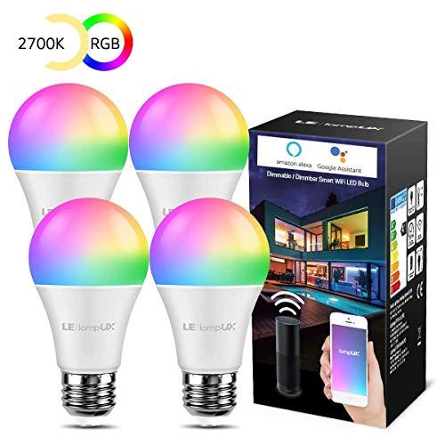 LE WLAN Lampe E27, 9 W Intelligente Glühbirne, WiFi, Alexa, 806 lm, RGB Farben mit Warmweiß, verbunden, WiFi, kompatibel mit Google Home Alexa, Kein Gateway erforderlich, 4 Pack