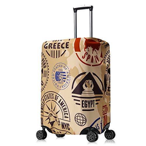 kwmobile Travel Luggage Suitcase Cover - Protector for Luggage Suitcase (L) - Globetrotter, Dark Brown/Dark Blue/Beige