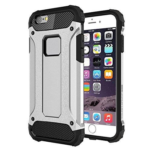 Funda protectora resistente y flexible Tough Armor está diseñada para iPhone 6 Plus y 6s Plus Funda protectora combinada de TPU + PC todo incluido (Color: Plata)