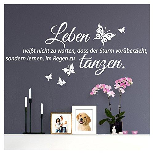 Wandaro W3460 Wandtattoo Spruch Leben heißt I weiß 70 x 32 cm I Schmetterlinge Flur Wandaufkleber Wohnzimmer selbstklebend Aufkleber Wandsticker