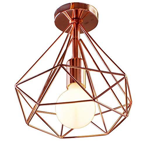 Simple Lámpara de Techo Industrial Retro Ø25cm en Forma de Diamante Vintage Metal Jaula Lámpara Colgante para Comedor, Bar, Dormitorio (Oro rosa)
