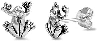 Plain Frog Stud .925 Sterling Silver Earrings