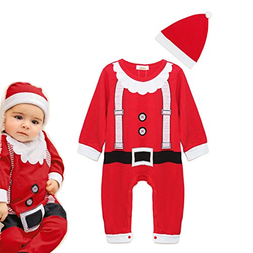 Vine Infant Natale Sets Babbo Natale manica lunga Pagliaccetto + Cappello Infant Outfits