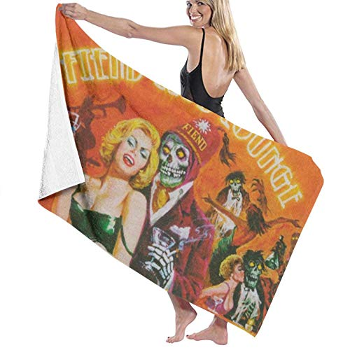 Fiend Club Lounge - Toallas de playa de secado rápido, superabsorbentes, para baño o piscina, para natación y al aire libre, 80 x 130 cm