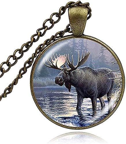 Yiffshunl Collar 25Mm cabujón Colgante Collares Perro Lobo Animal Animal Arte Cristal cabujón Collar Mujer Hombre niña Regalo