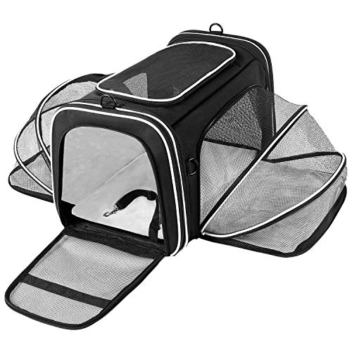 MASKEYON TSA Airline Approved Large Pet Travel Carrier,4 Sides Expandable with 2 Mesh Pockets,3 Entry,Washable Pads,Shoulder Strap,Soft Sided Collapsible Dog Carrier for 2 Cats,Kittens,Puppies,Dog