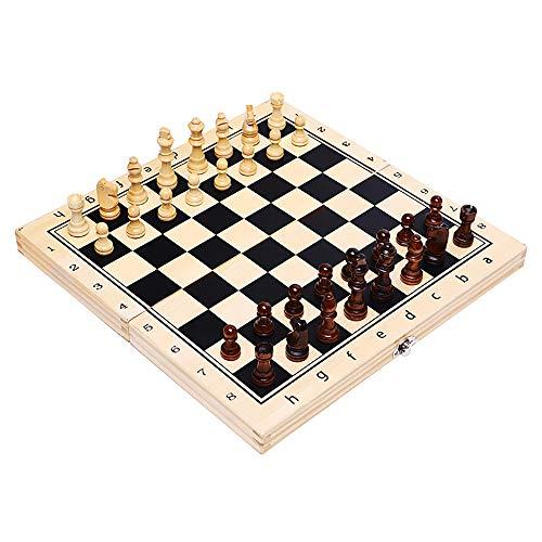 AWY Faltendes Magnetisches Reiseschach-Set, Hölzernes Tragbares Speicher-Reiseschach-Set-Fach Für Kinder Oder Erwachsen-Schach-Brettspiel Im Freien - 29X29cm /11.4 in (Gelb)