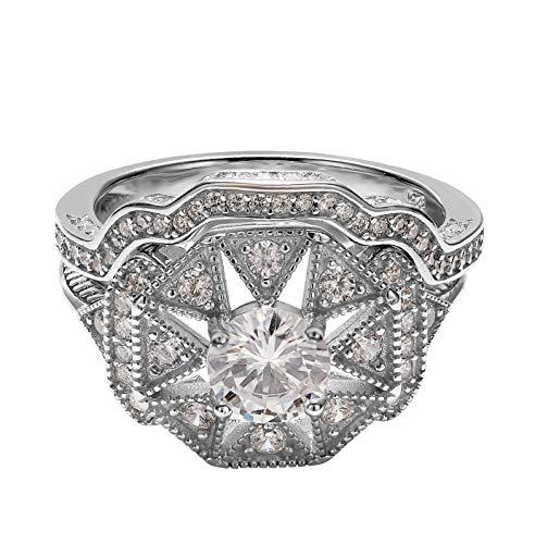 Art Deco Sterling Silver Cubic Zirconia Art Deco Antique Halo Engagement Ring CZ Two Piece Bridal Set (Size 6)