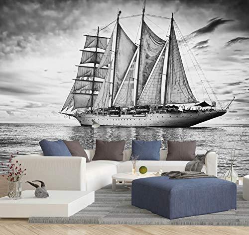 Vlies Tapete XXL Poster Fototapete Segelschiff Meer See Farbe schwarz weiß, Größe 120 x 90 cm