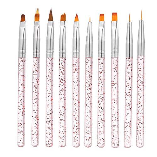 Nagel Pinselset Anself 10-teilig Nagel Kunst Malerei Zeichnung Pinsel Set Gel Pinsel Gelnägel Pinsel für UV Gel und Acrylfingernägel Nailart Maniküre Nagelzubehör
