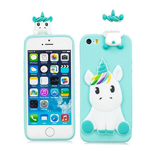 EarthNanLiuPowerTu iPhone 5 SE 5C 5S 5G Carcasa Gel Suave de Silicona Gel Lindo 3D Cartoon Lovely Fashion iPhone 5 SE 5C 5S 5G Funda Navidad Kawaii Unicornio - Azul