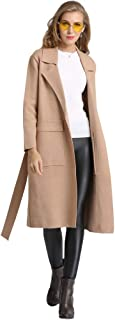 Medeshe Ladies Winter Long Trench Coat Italian Women Waterfall French Belted Jacket Dress