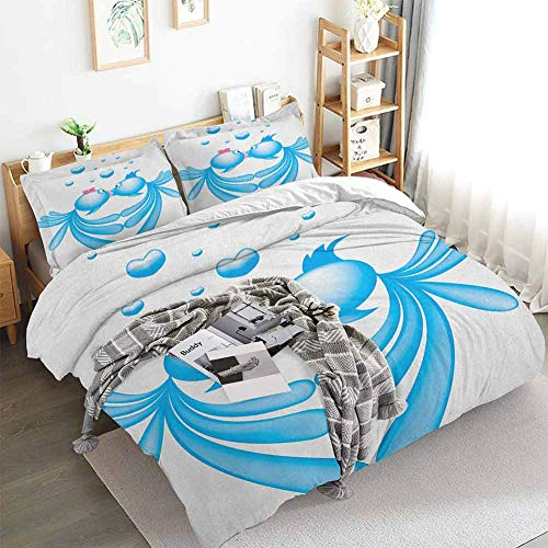 HouseLookHome Kiss Duvet Cover Set Abstract Blue Cartoon Fishes Kissing with Bubble Like Heart Shapes Romantic Decorative 3 Piece Bedding Set Pale Blue Pink White Twin Duvet Cover Set