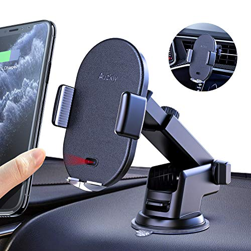 Auckly Qi 10W Caricatore Wireless Auto,Auto-Bloccaggio Supporto Smartphone per Auto Wireless,Caricatore Wireless Auto per iPhone 11/11 PRO/Max/XS Max/XR/8, Galaxy S20/S10Note 9/S9, Huawei P20 e Altri
