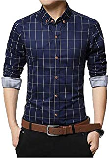 Jeevaan Men's Checks Casual Cotton Fancy Design Full Sleeve Shirt