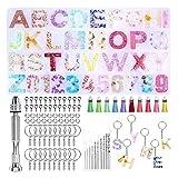 Tide brand tribe 1 Set Crystal Epoxy Resina Molde Alfabeto Carta Número Número Colgantes Casting Silicone DIY Crafts Llavero Joyería Hacienda de Herramientas con (Color : 1)