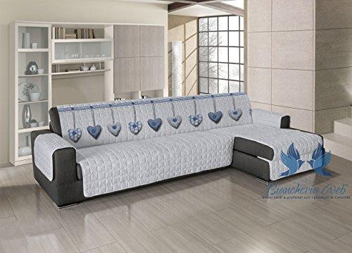 BIANCHERIAWEB Copridivano Trapuntato per Divani con Penisola Disegno Cuore Appeso 190-195 cm Blu