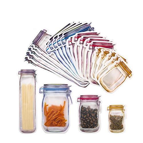 DAIRF Jar Zip Bags,20 unidades Mason Bottle Bolsas portátiles herméticas de alimentos, bolsa reutilizable con cierre de cremallera para hornear, aperitivos, dulces, etc.