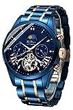 Men's Watch Luxury Mechanical Moon Phrase Skeleton Luminous Hands Automatic Self-Wind Leather/Stainless Steel Wrist Watch
