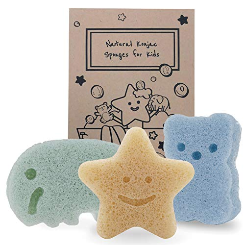 Konjac Baby Sponge for Bathing, Cute Shapes Natural Kids Bath Sponges for Infants, Toddler Bath Time, Natural and Safe Plant-Based Konjac Baby Bath Toys, 3pc. Set: Elephant, Bear & Star
