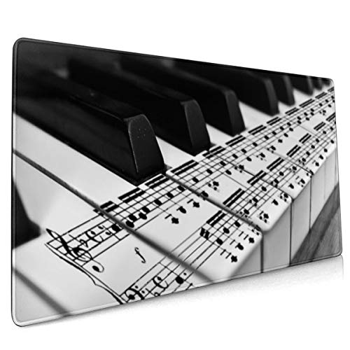Muziek Piano Monochrome Muis Pad Niet Slip Rubber Groot Gaming Toetsenbord Mat 15.8x35.5 In