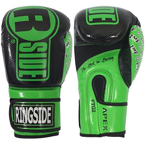 Ringside Apex Flash Sparring Gloves, Black/Green, 14 oz