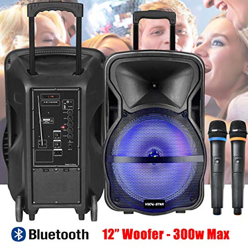 Vocal-Star Portable PA Speaker System with LED Light Effect, Bluetooth,...