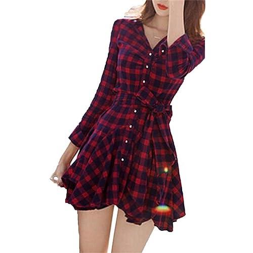 Mytom Falda Mini A Cuadros Vestido Casual Manga Larga para Mujer