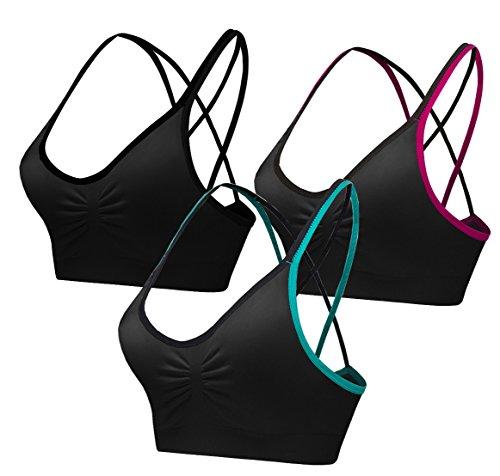 akamc extraíble de la mujer acolchado sujetador de deporte tamaño mediano apoyo entrenamiento Yoga sujetador 3Pack - negro -