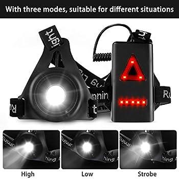 Zenoplige Lampe Poitrine LED Rechargeable USB 3 Modes d'éclairage, Lampe Running avec Lumière Rouge Idéal pour Courir, Escalade, Pêche, Camping, Jogging