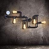 EDISLIVE Industrial Lámparas de pared Vintage Luces de pared Lámpara de montaje Tubo de agua Apliques de pared para Pub Cafe Hotel (negro)