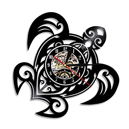 RFTGH Tortuga Disco de Vinilo Reloj de Pared diseño Moderno Tortuga Animal Tortuga Maestro Reloj de Pared decoración del hogar Reloj de Pared Reloj de Tiempo