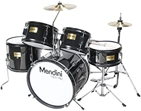 Mendini by Cecilio 16 inch 5-Piece Complete Kids / Junior Drum Set with Adjustable Throne, Cymbal, Pedal & Drumsticks, Metallic Black, MJDS-5-BK