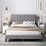 HOMECHO Queen Bed Frame, Modern Upholstered Platform Bed with Headboard, Heavy Duty Bed Frame with Wood Slat Support, No Box Spring Required, Easy Assembly (Queen, Grey)