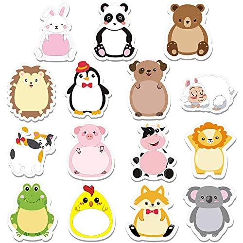 45 Pieces Cartoon Animal Sticky Notes Cute Cartoon Memo Page Markers Flags in Different Shapes for Students, Home, School and Office, 15 Styles
