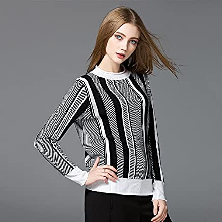 Xuanku LongSleeved Black And White Streaks Female Knocked color Sweater Knit Wear Shirts Hedging