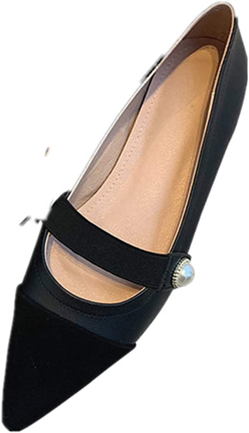 Nine Seven Women's Suede Leather Pointed Toe Chunky Heel Handmade Glossy and Comfortable Pumps shoes