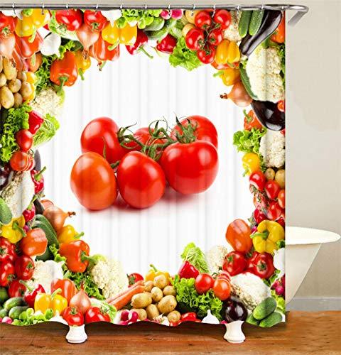 Duschvorhang Polyester Tomate Duschvorhang Anti-Schimmel Wasserdicht Anti Schimmel Waschbarer Mit 12 Haken Für Badewanne Und Dusche 240 X 180 cm