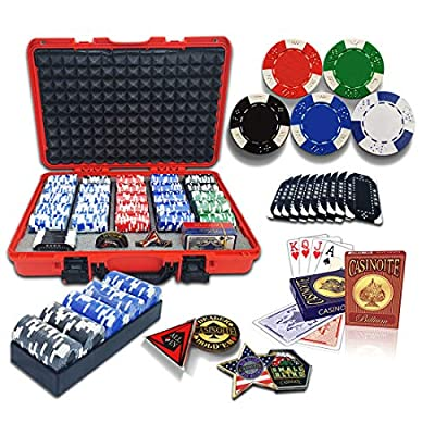 casinoite Professional Poker Chips Set Billium 500 pcs | 10 Plaques, Red Hard Case | 40mm Casino Chip, 2 Decks of 100% Plastic Playing Cards, 5 Trays, All in, Dealer, Big Blind & Small Blind Buttons