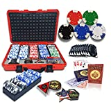 Professional 500PCS Poker Set with Red Hard Carrying Case | 40mm Casino Style