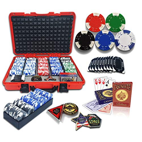 casinoite Professional Poker Chips Set Billium 500 pcs   10 Plaques, Red Hard Case   40mm Casino Chip, 2 Decks of 100% Plastic Playing Cards, 5 Trays, All in, Dealer, Big Blind & Small Blind Buttons