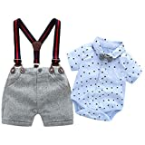 Baby Boys Blue Printed Shirt+Bib Shorts+Bow Tie+Suspender,Infant Toddler Gentleman Outfits Suits